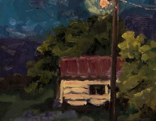 Garden Shed at Night